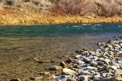 babbling brook down the fall Colorado morning mountains