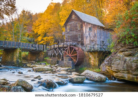 Photo of  Babcock State Park, West Virginia, USA at Glade Creek Grist Mill during autumn season.