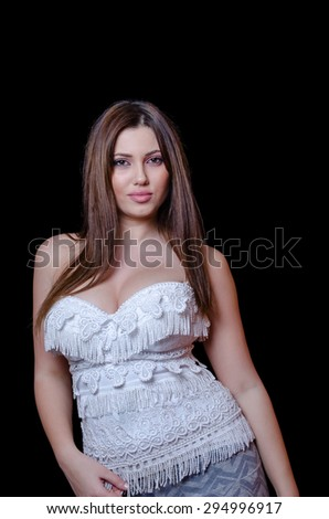 Caucasian brunette breasts