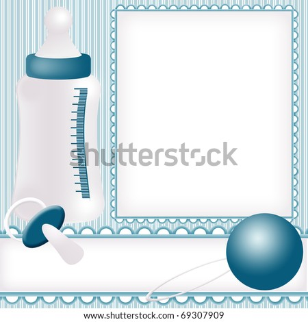 Babies background with photo frame and baby icons set