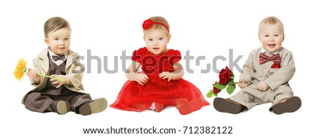 Babies Kids Well Dressed, Elegant Children with Flower, Fashion Boy and Girl Isolated over White