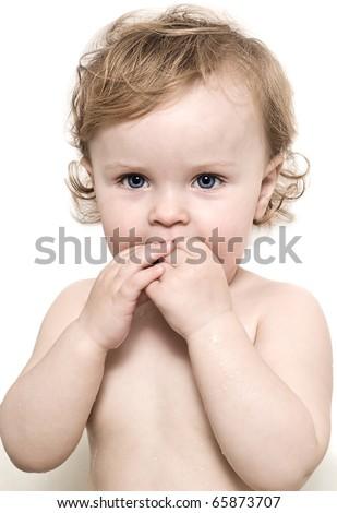 babies portrait blond drops wet surprise bathing face curls