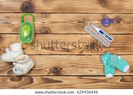 Baby accessories on table Photo stock ©