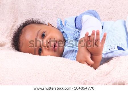 baby african american black metisse newborn - stock photo