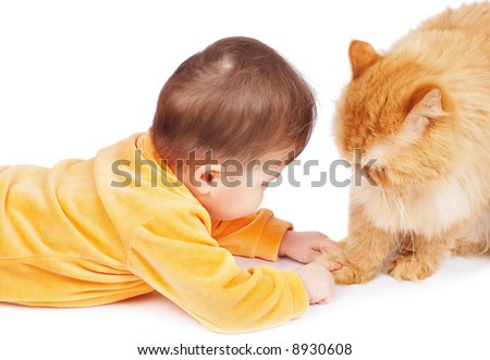 Baby and cat isolated on white