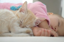 Baby and cat sleeping together, cute childhood friendship