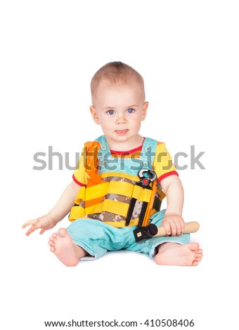 d3fe0cda417 Baby and children s toy instruments on a white background. Child plays with  toy tools