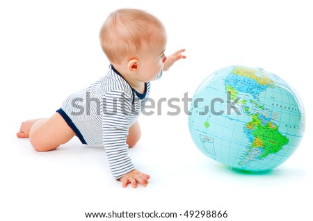 Baby and globe. Isolated on white background