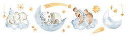Baby animals sleeping watercolor illustration with elephant, panda and koala in the sky with moon, clouds and stars in pastel blue for nursery