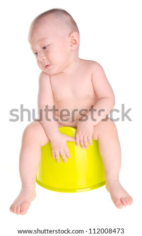 baby, asian chinese baby cry on chamber-pot