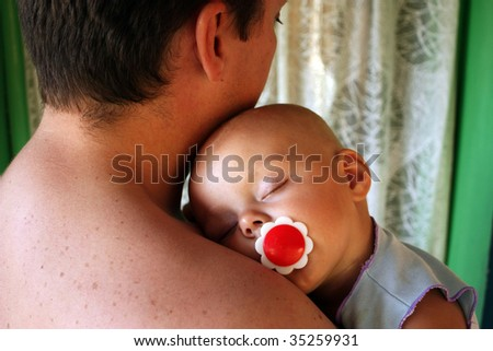 Baby asleep on his father's chest