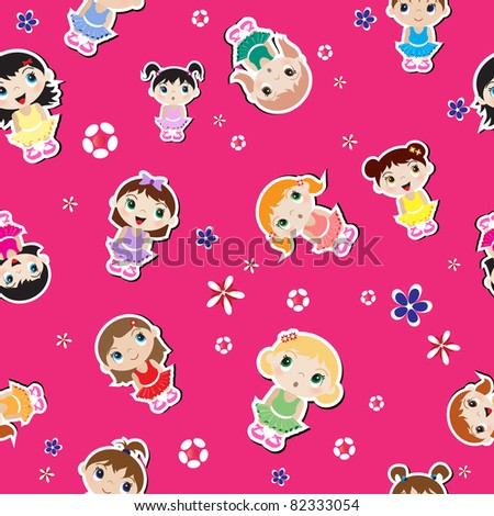 Baby ballerina seamless background with flowers.  Also available in vector format.