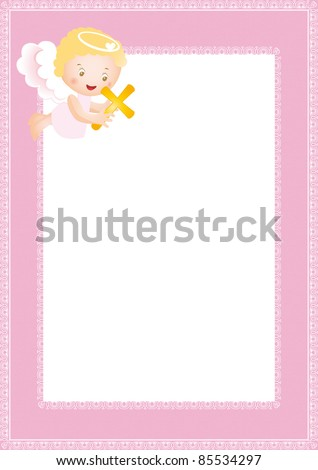 Royalty-free Baby baptism frame with small angel #85530646 Stock ...