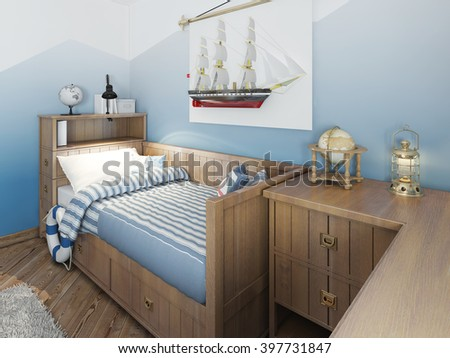 Baby bed for a young teenager in a ship style with a lifeline and nautical decor. Modern interior of a child's room in a marine theme. 3D render.
