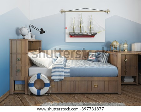 Baby bed for a young teenager in a ship style with a lifeline and nautical decor. Modern interior of a child's room in a nautical theme. 3D render.