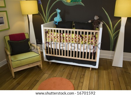 Baby Bedroom Items on Baby Bedroom With A Crib  Toys And Decor  Stock Photo 16701592