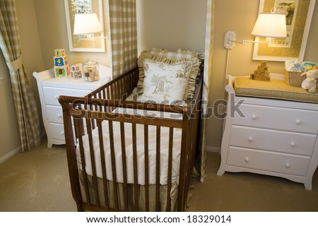 Bedroom on Baby Bedroom With A Crib  Toys And Decor  Stock Photo 18329014