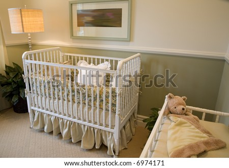 Baby Bedroom Items on Baby Bedroom With A Crib  Toys And Decor  Stock Photo 6974171