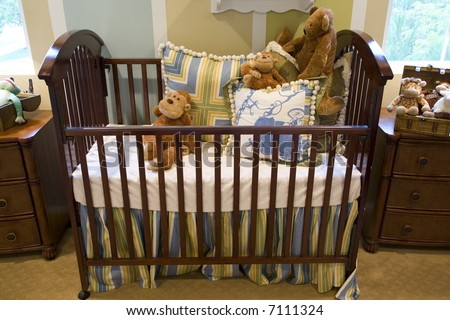 Baby Bedroom Items on Baby Bedroom With A Crib  Toys And Decor  Stock Photo 7111324