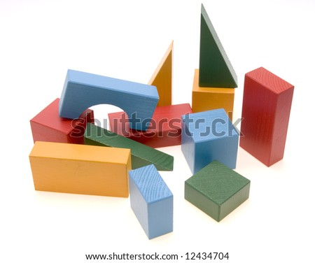 Baby blocks figure - wood color toys isolated