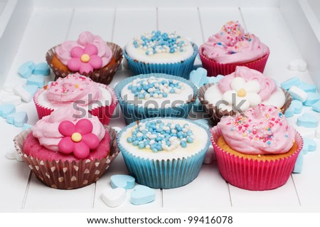 baby blue and pink cupcakes
