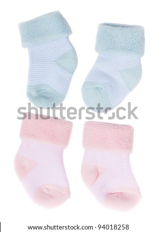 baby blue and pink socks