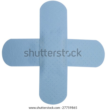 Baby blue band aid plaster in shape of cross