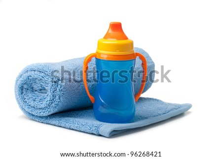 Baby blue bottle on a white background
