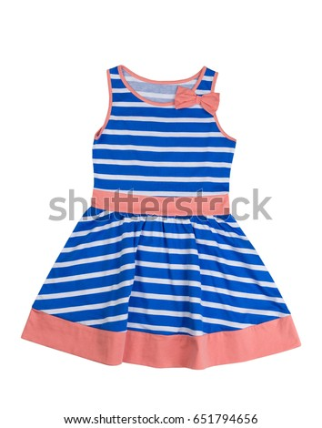 Baby blue striped dress. Isolate on white background