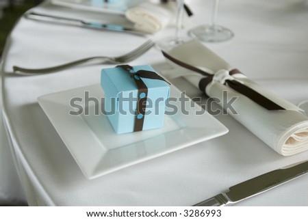 stock photo Baby blue wedding gift box place setting series 01