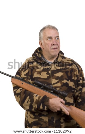 Baby-boomer Hunter looking for game isolated on white