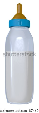 Baby Bottle - A generic baby bottle with blue glass, blue cap and orange nipple. Isolated on white.