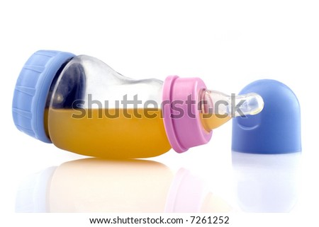 Baby bottle on white background - stock photo
