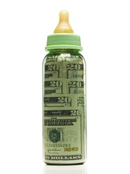 Baby bottle with american currency in it