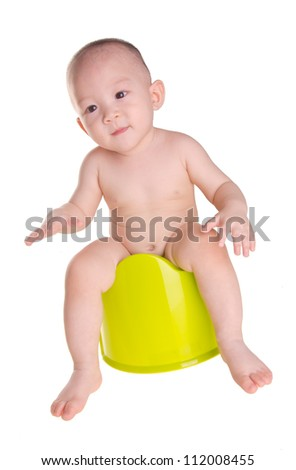 baby boy, asian chinese baby dancing on chamber-pot