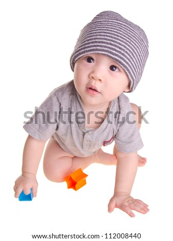 baby boy, bright picture of crawling asian baby boy