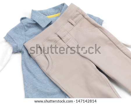 Baby boy clothes isolated on white background
