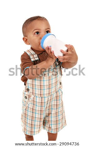 Baby Boy Drinking Milk Bottle on Isolated White Background