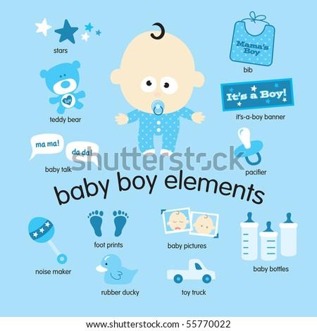 Baby boy elements set