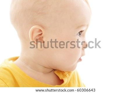 Baby boy face isolated on white, portrait close up