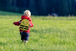 Baby boy hiking with backpack on green meadow. Young child on vacations hike. Inspirational travel and tourism concept.