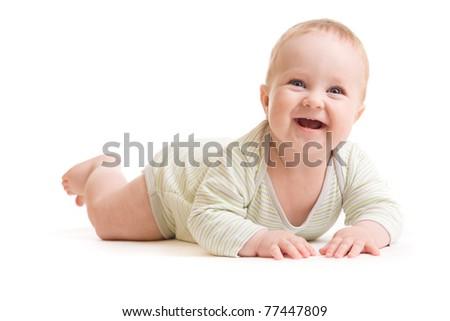 Baby boy isolated lying  smilingly