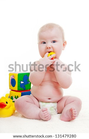 Baby boy play with toys