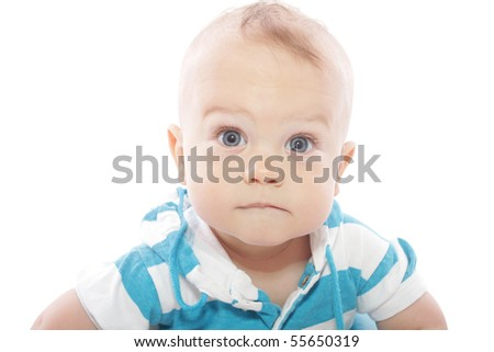 Baby boy, portrait on white background