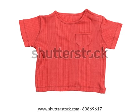 Baby boy red t-shirt isolated on white background with clipping path