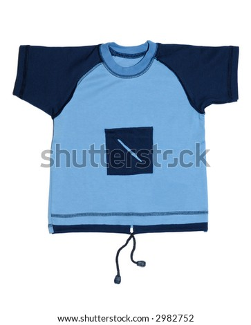 Baby boy's blue fancy t-shirt isolated on white background