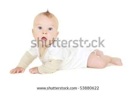 Baby boy tummy time, crawling, on white background (not pure white)