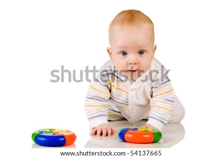 baby boy with a round color rulers isolated on white background