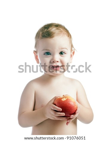 baby boy with apple