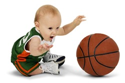 Baby boy with basketball. Full body over white. Clipping path.